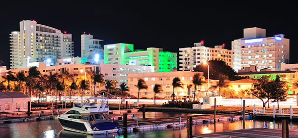 image of Miami hotels at night